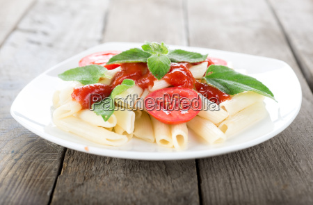 pasta on a wooden table
