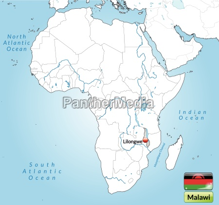 surrounding area of malawi with capitals