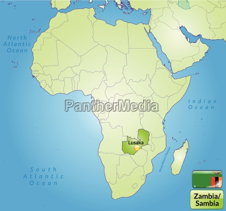 map of zambia with capitals in