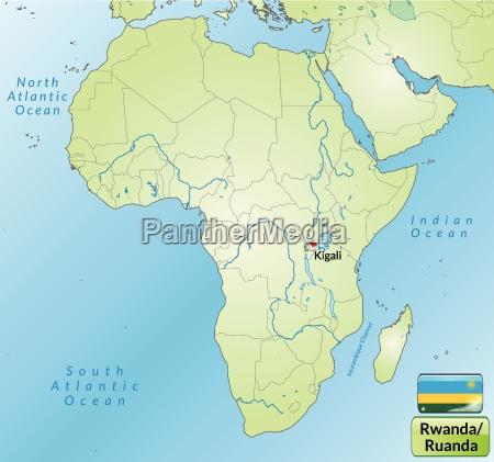 area map of rwanda with capitals