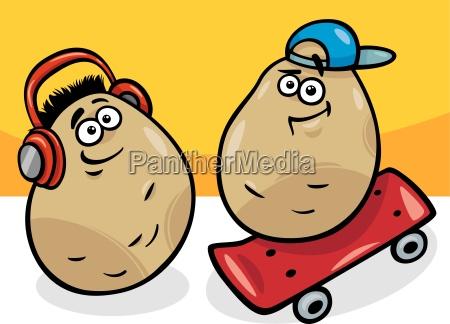new potatoes cartoon illustration