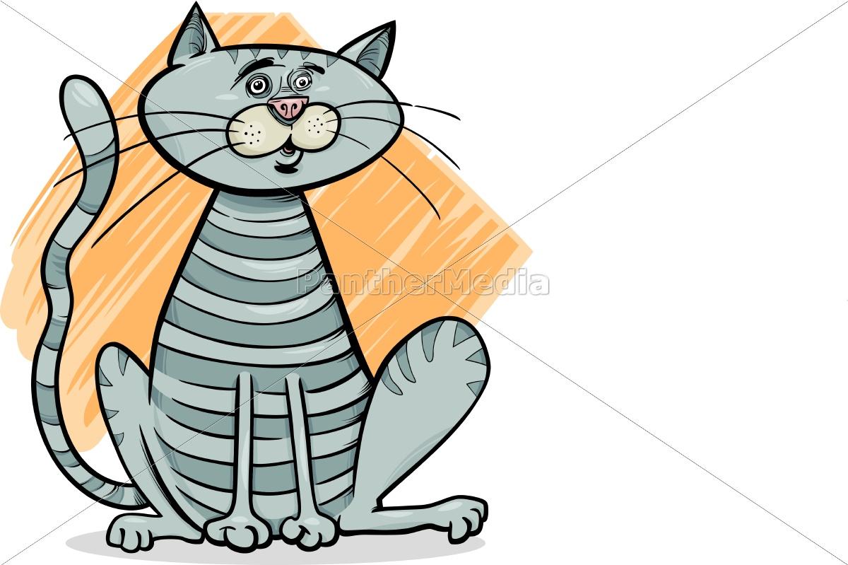 tabby, gray, cat, cartoon, illustration - 10648137