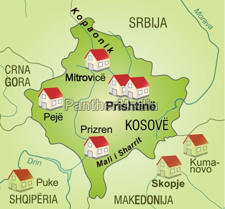 map of kosovo as infographic in