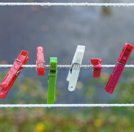 colorful washing laundry clips on outdoor