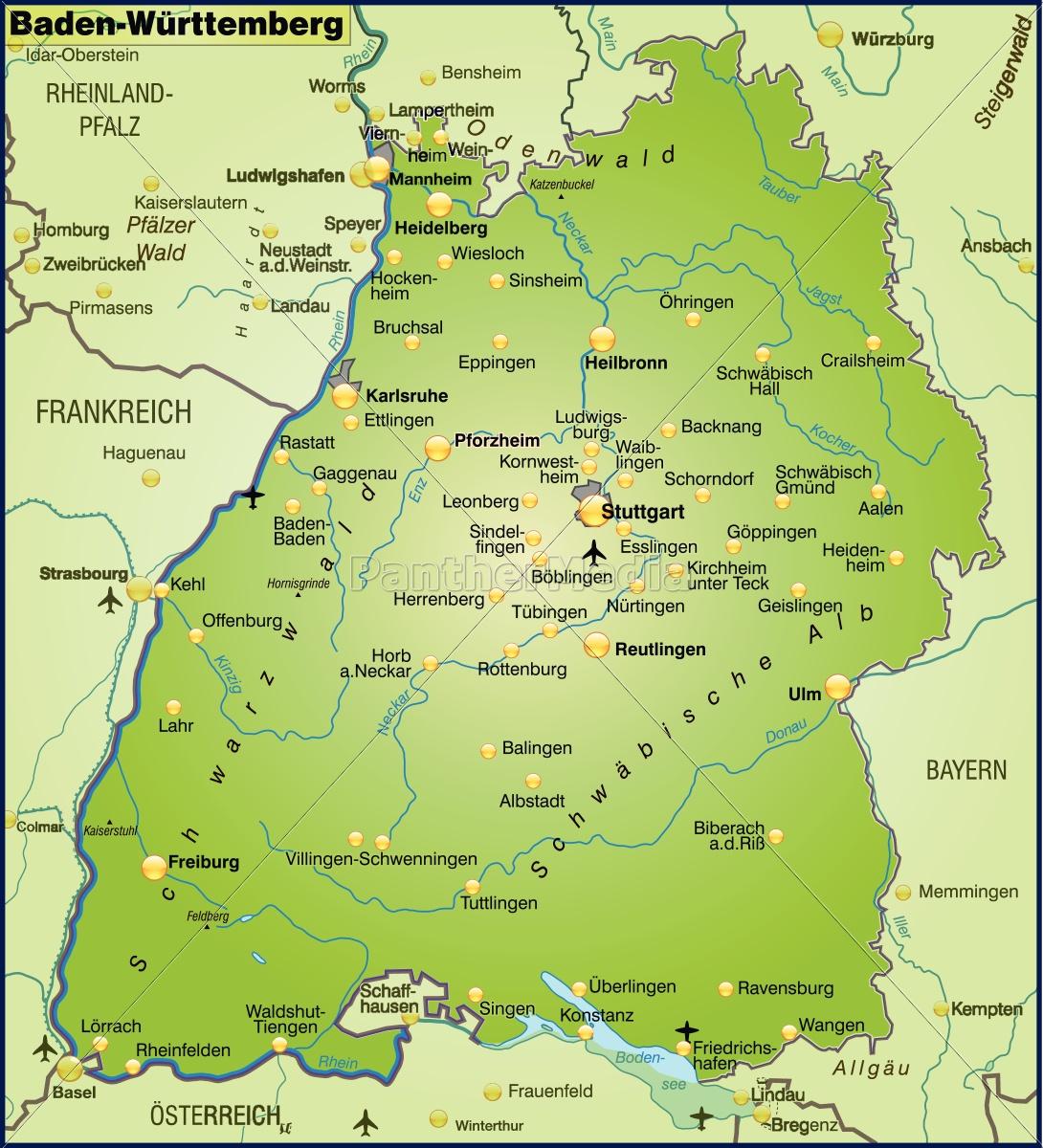 Baden württemberg in karte städte Regionen und