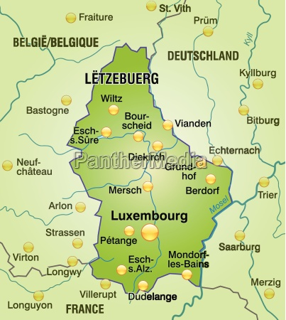 map of luxembourg as a map
