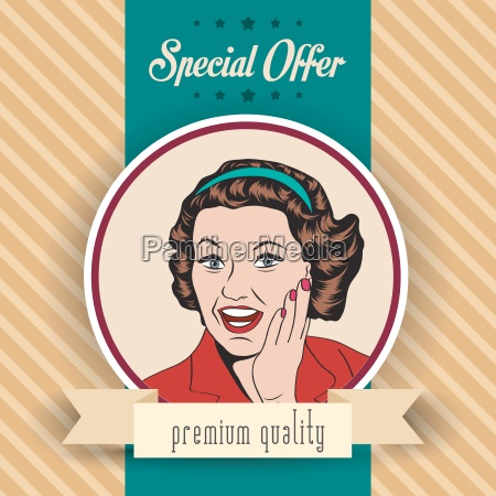 happy woman commercial retro clipart illustration