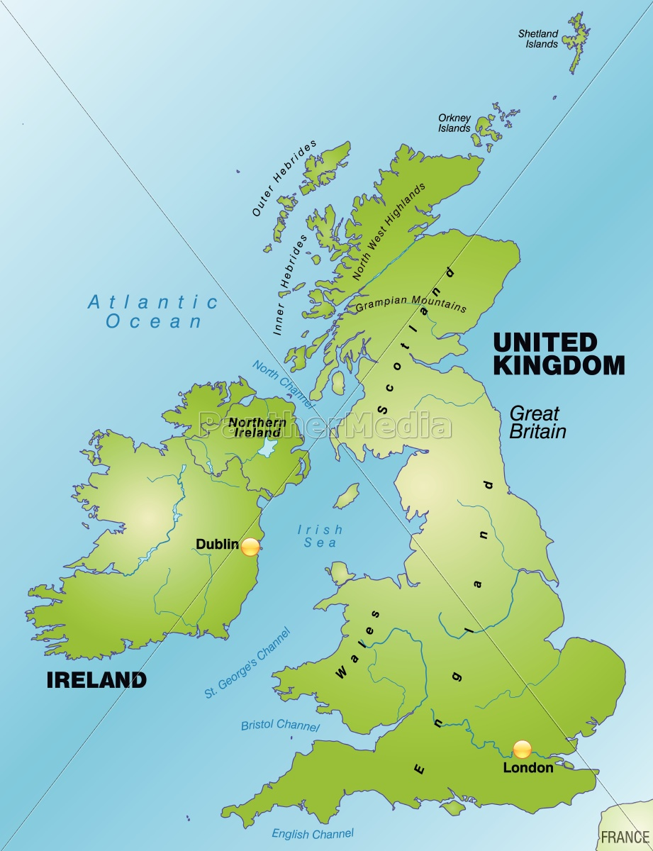 Map Of England As An Overview Map In Green Stock Photo