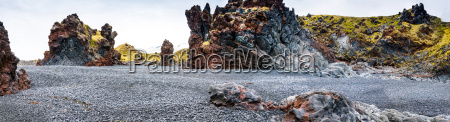 icelandic beach with black lava rocks