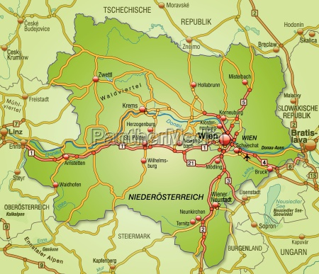 map of niederoesterreich with transport network