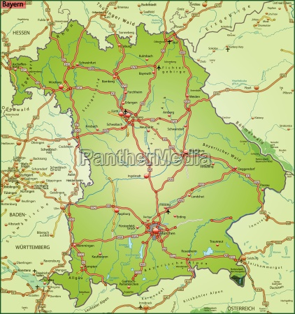 map of bavaria with transport network