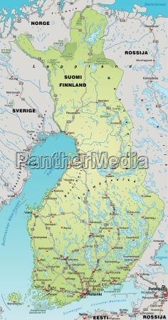 map of finland with transport network