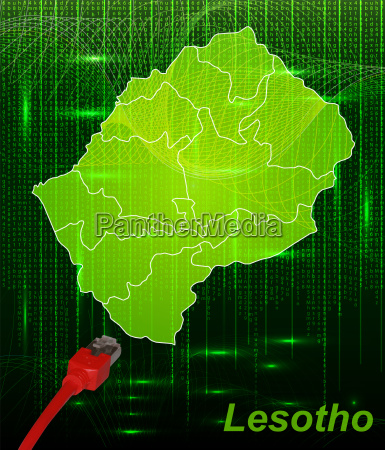 map of lesotho with boundaries in