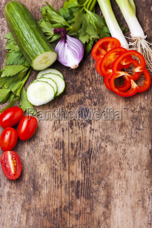 vegetables on wood