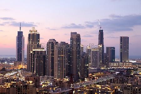 dubai downtown at dusk united arab