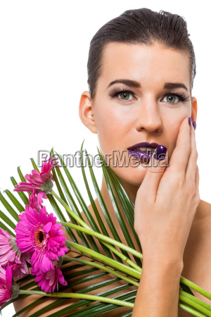 young attractive woman with purple nail