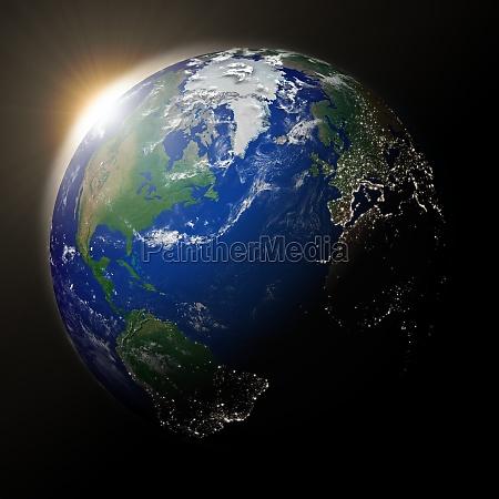 sun over north america on planet