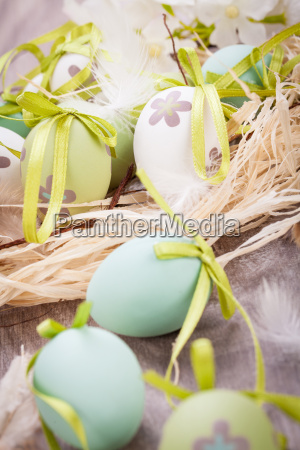 colorful green painted easter decoration easter