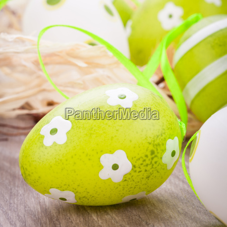colorful green painted easter eggs decoration