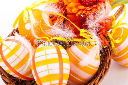 traditional painted easter eggs with orange