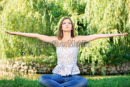 woman at meditation outdoor