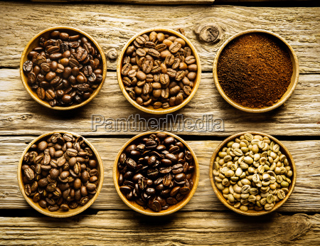 five varieties of coffee beans and