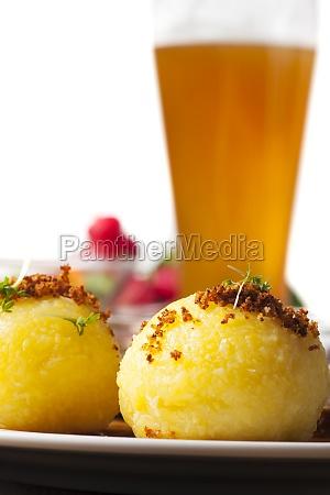 potato dumpling and bavarian roast pork