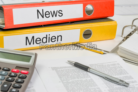 file folders labeled news and media