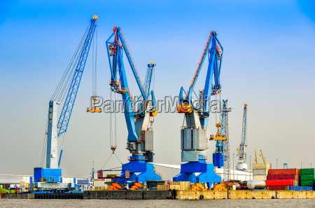 large industrial cargo cranes in the
