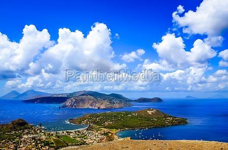 landscape scenic view of lipari islands