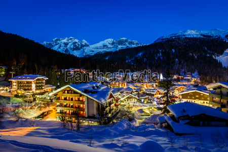 illuminated ski resort of madonna di