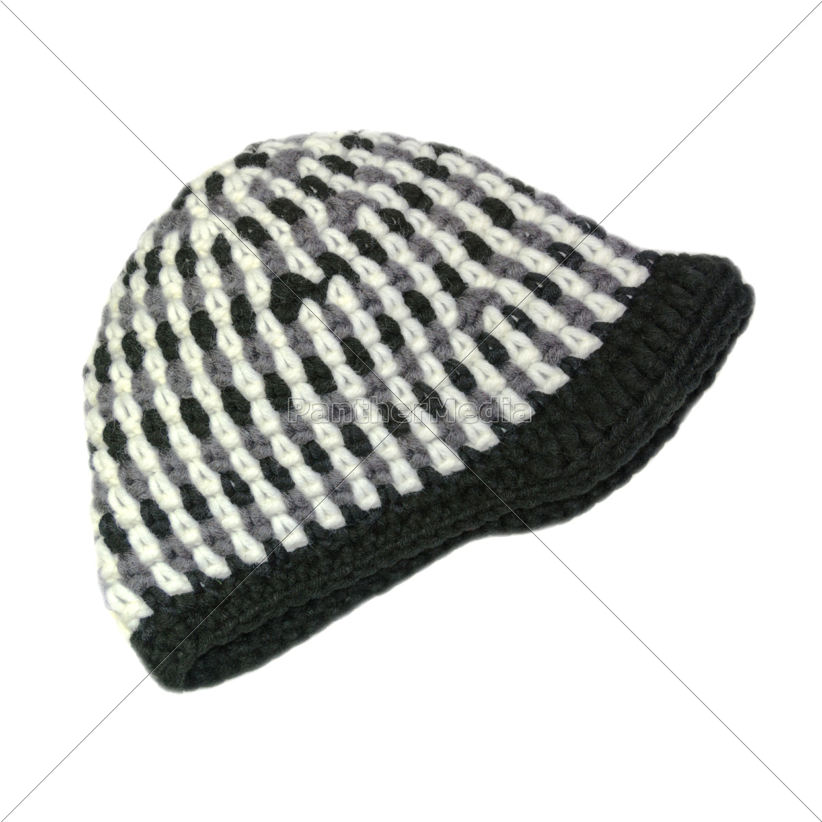 crocheted, cap, in, black, and, white - 10774817
