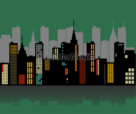 retro city skyline