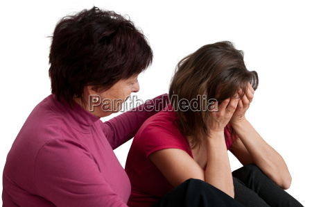 problems senior mother comforts daughter