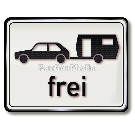 road sign car with caravan free