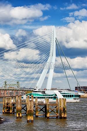 river pier and bridge in rotterdam