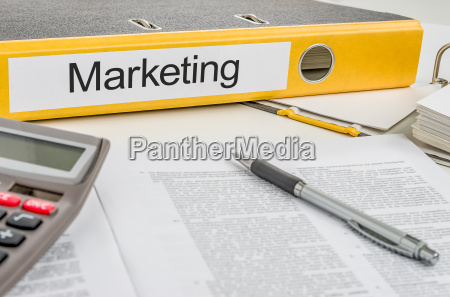 file folder with the label marketing