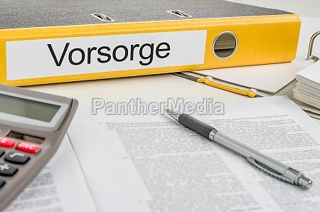 file folder with the label vorsorge