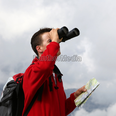 destination search through binoculars in the