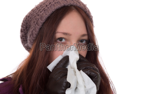 young woman with handkerchief has a