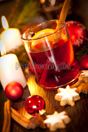 hot aromatic mulled wine punch with