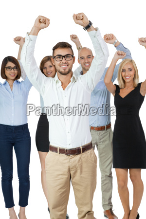 successful young team worker professionals group