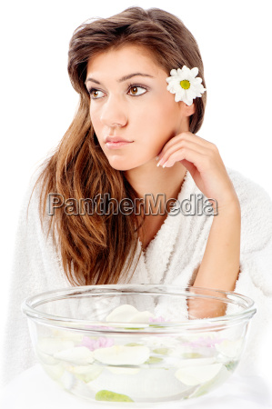 aromatherapy bowl and brunette woman