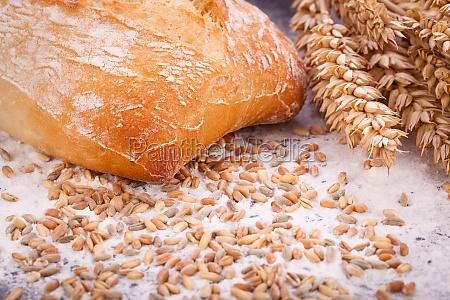 freshly baked crusty bread detail