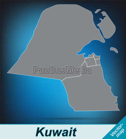 map of kuwait with borders in