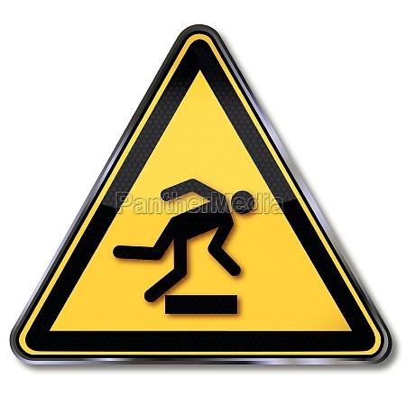 danger sign warning of tripping hazard