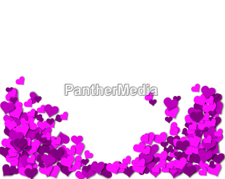 frame of purple hearts on a