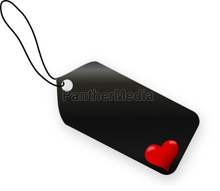 valentines day black label on white