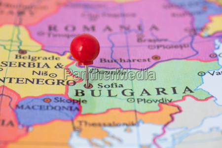 red pushpin on map of bulgaria