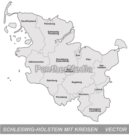 map of schleswig holstein with borders